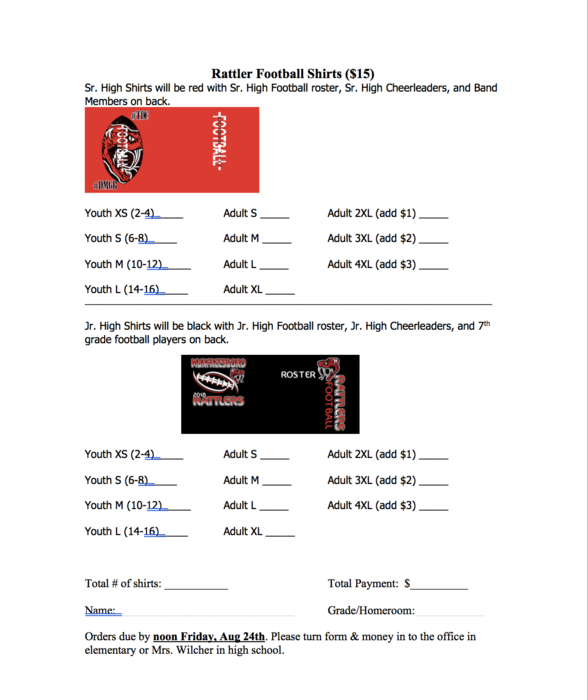 football shirt order form