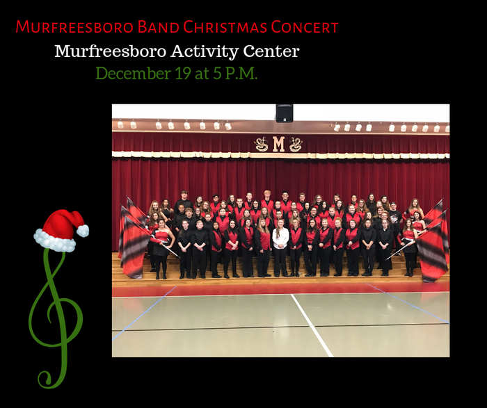 The Rattler Band's Christmas Concert will be Wednesday at 5 P.M. Come out and show your support!