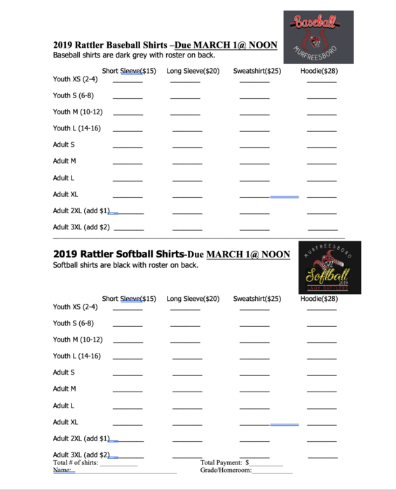 2019 baseball/softball order form