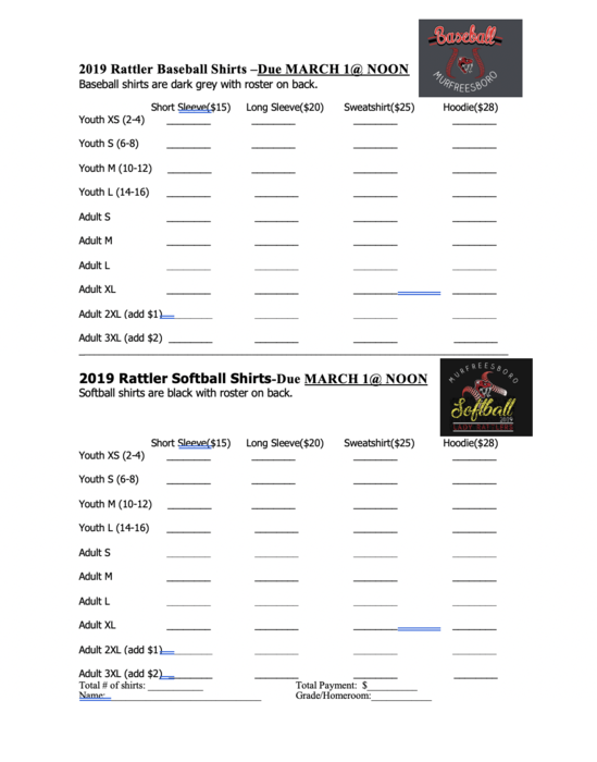 softball/baseball order forms 2019
