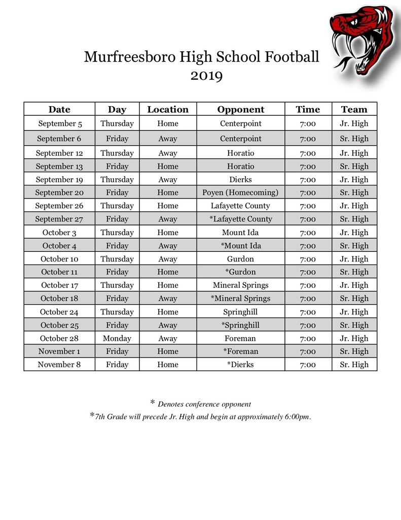 2019 JR/SR Schedule