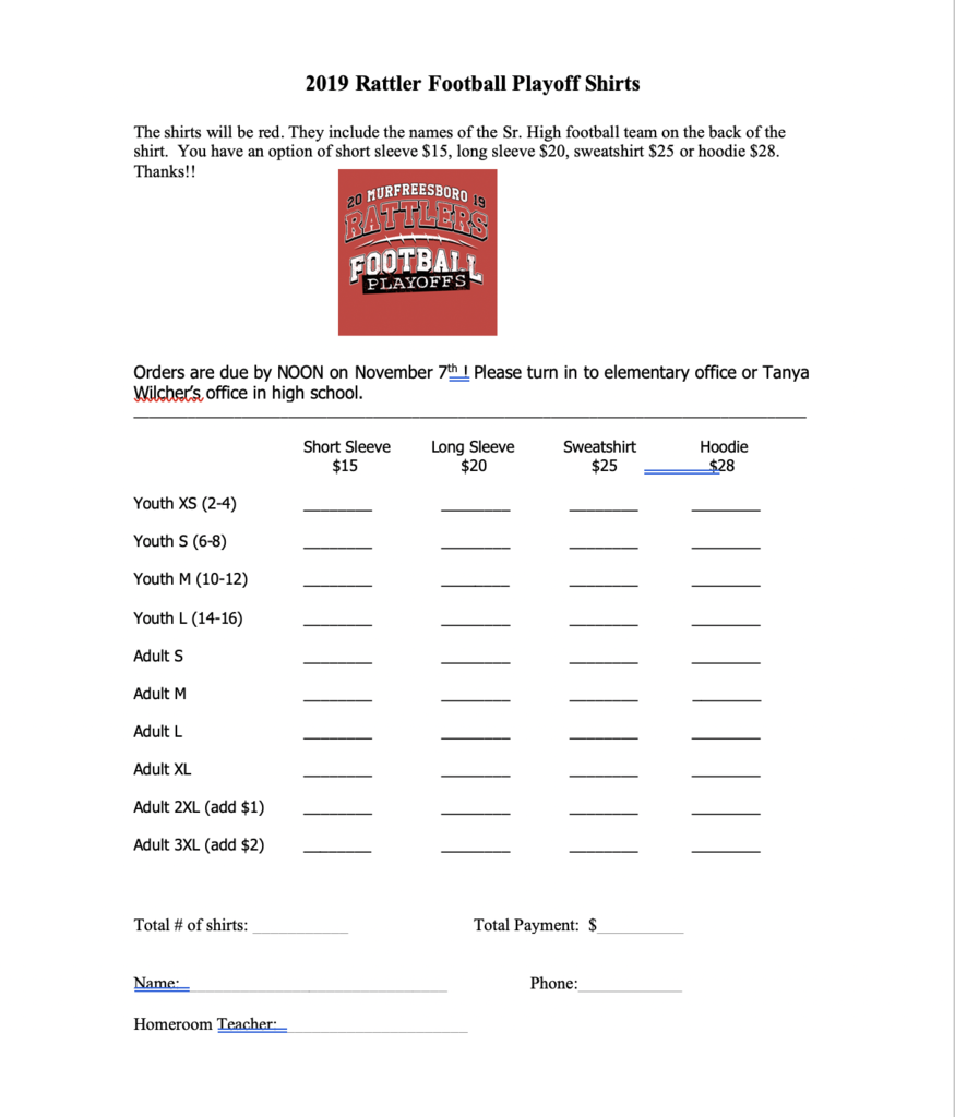 Playoff shirt order form